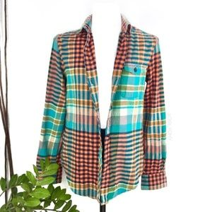 BDG Plaid Flannel Teal Orange Button Up Shirt XS 0
